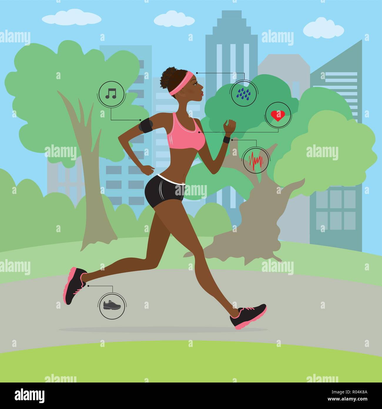 African american young and slim woman running in the park, fitness cartoon vector illustration - Stock Vector