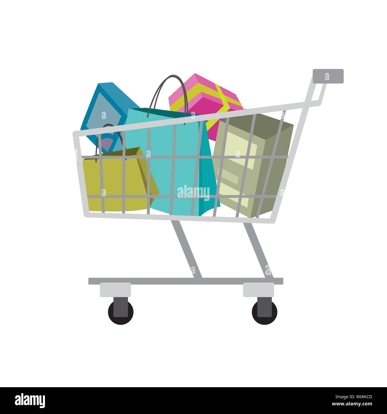 Shopping Trolley Isolated On White Background Cartoon Flat Vector Illustration Stock Vector Image Art Alamy