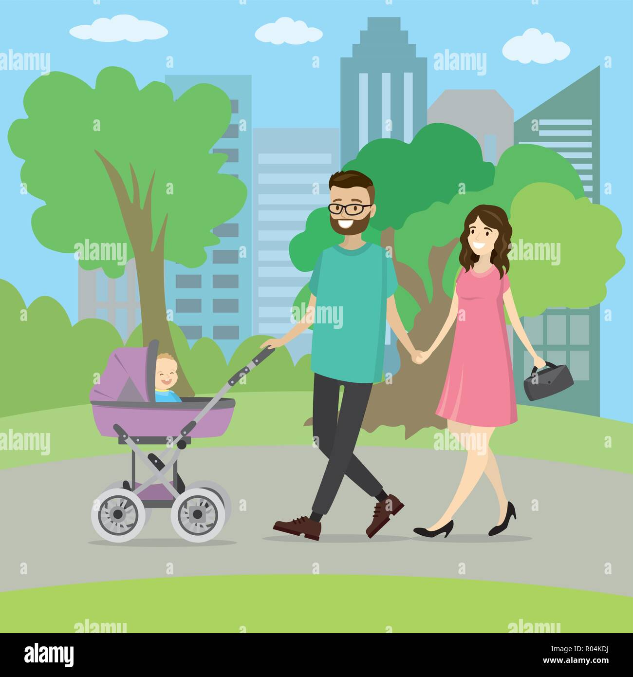 Happy young family with a baby carriage walking in park,vector illustration - Stock Vector
