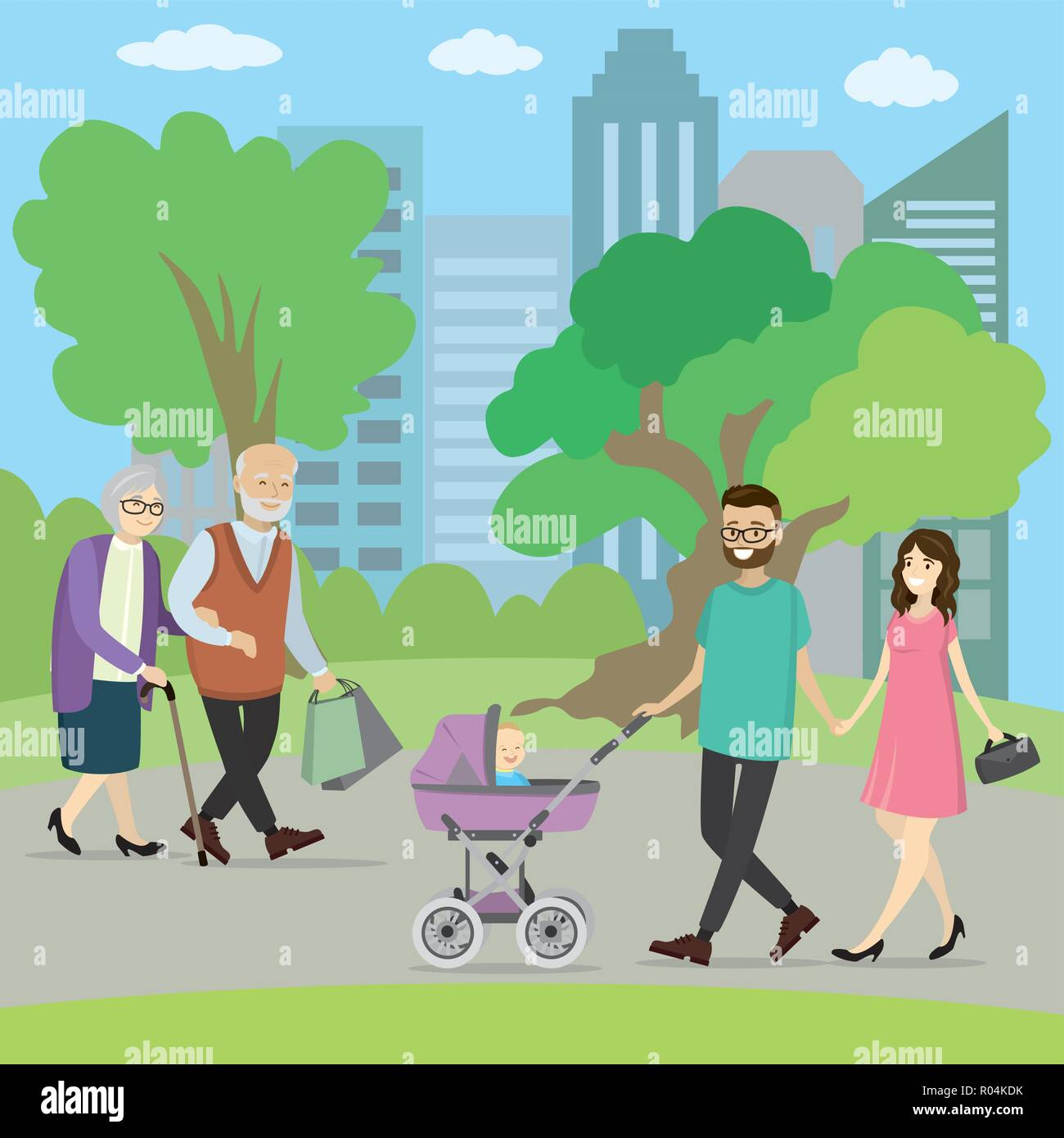 Happy young family with a baby carriage in park and couple of older people walking. Grandmother and grandfather. cartoon vector illustration - Stock Vector