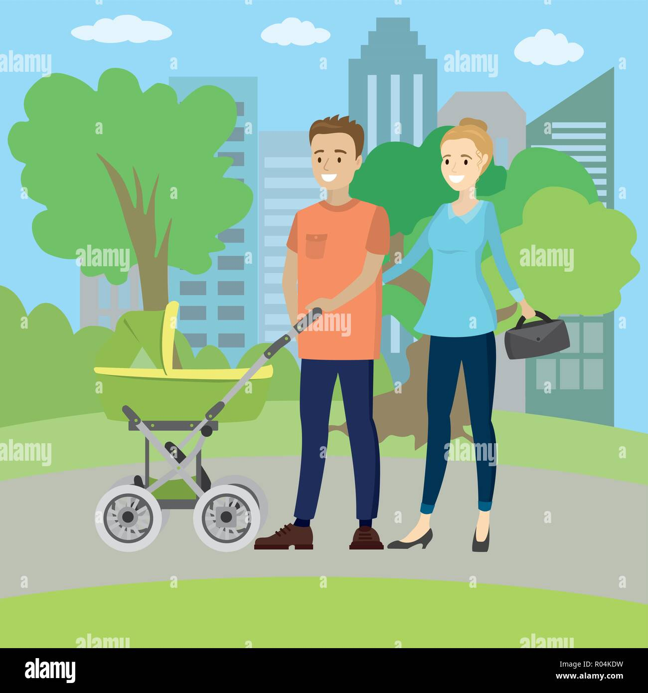 Happy young family with a baby carriage in park,vector illustration - Stock Vector