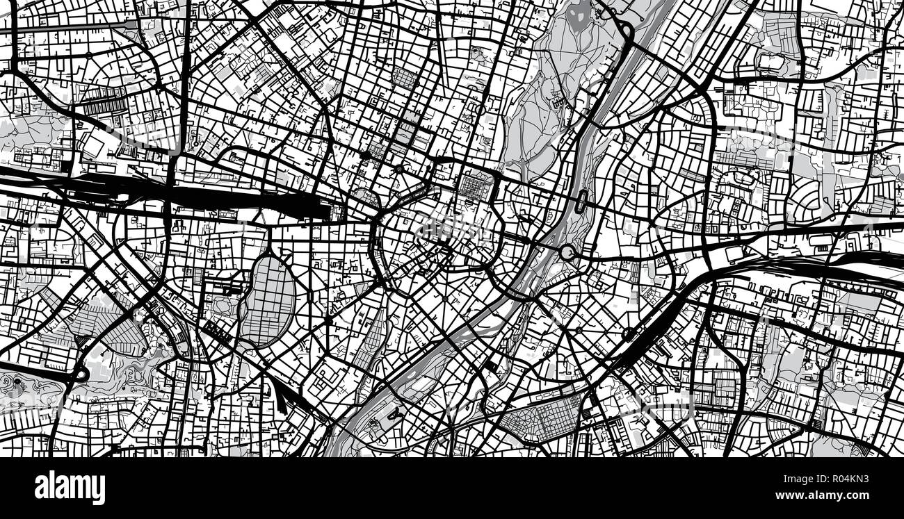 Urban vector city map of Munich, Germany Stock Vector Art ...