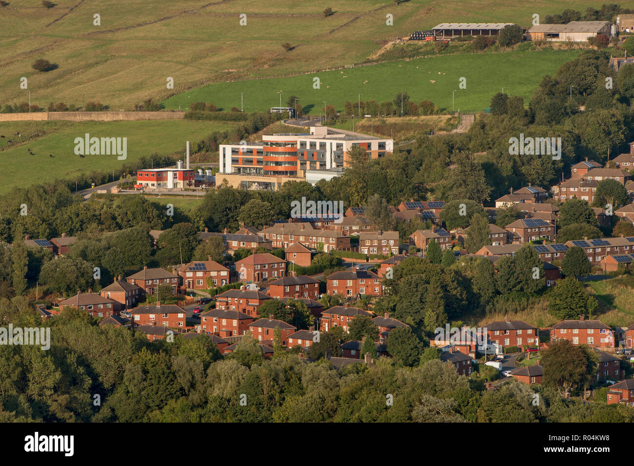 General view of houses around Mossley Hollins High School in Mossley, Greater Manchester - Stock Image