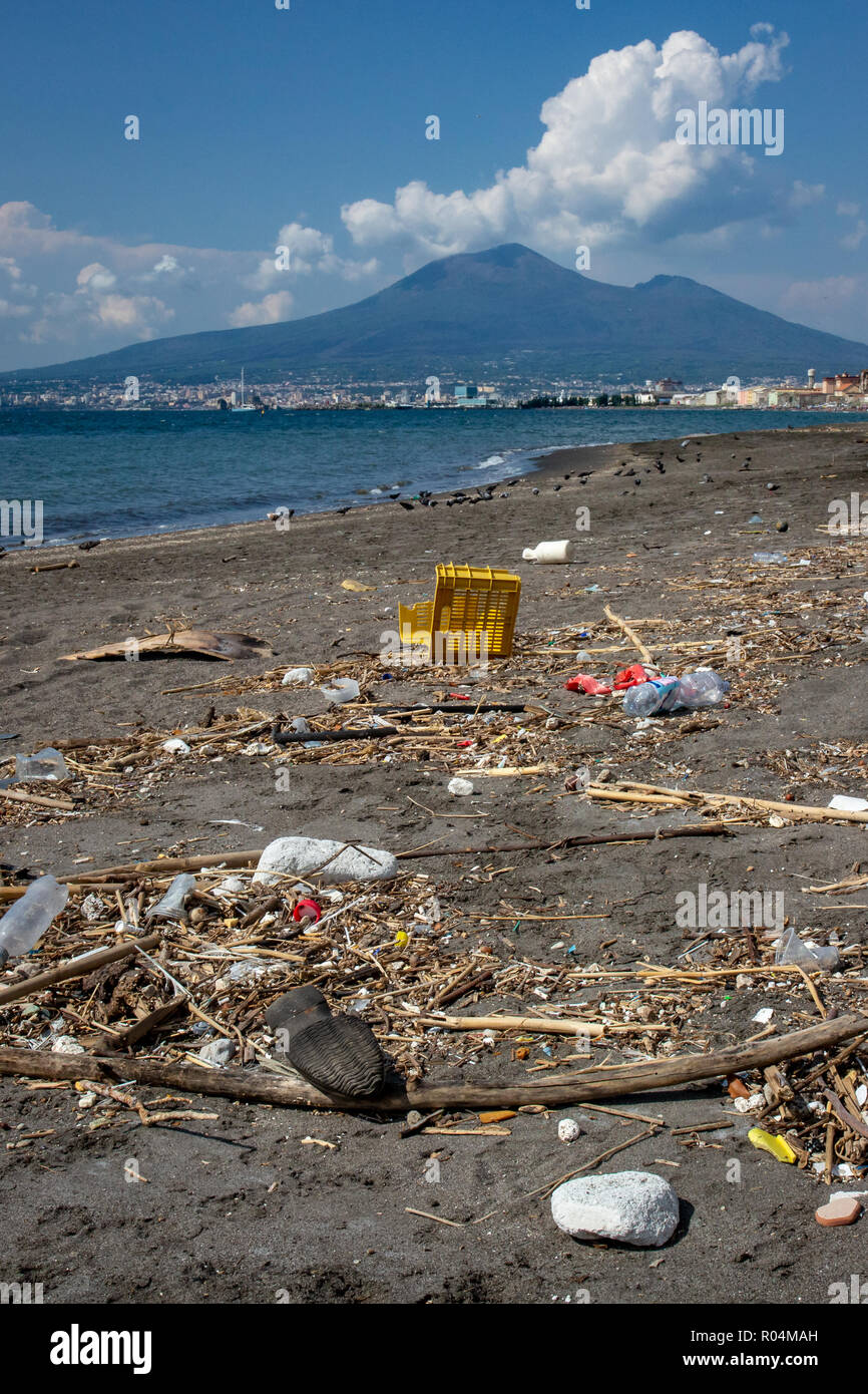 Plastic waste on beach - Stock Image