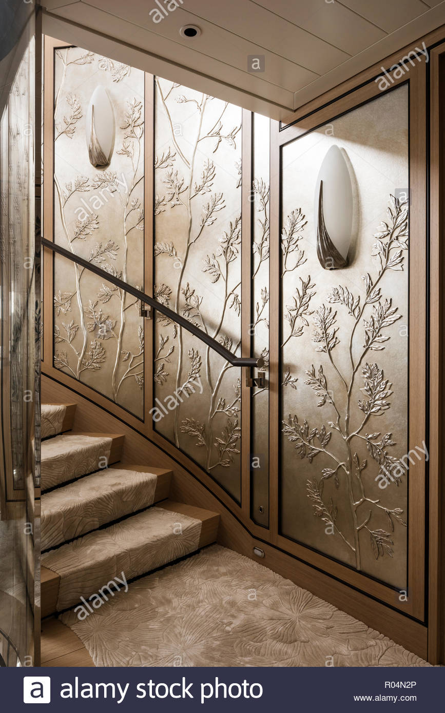 Staircase with floral panels - Stock Image