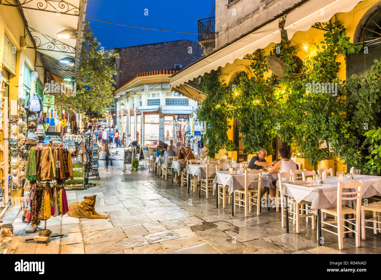 Restaurants at night, Plaka District, Athens, Attica Region, Greece, Europe - Stock Image