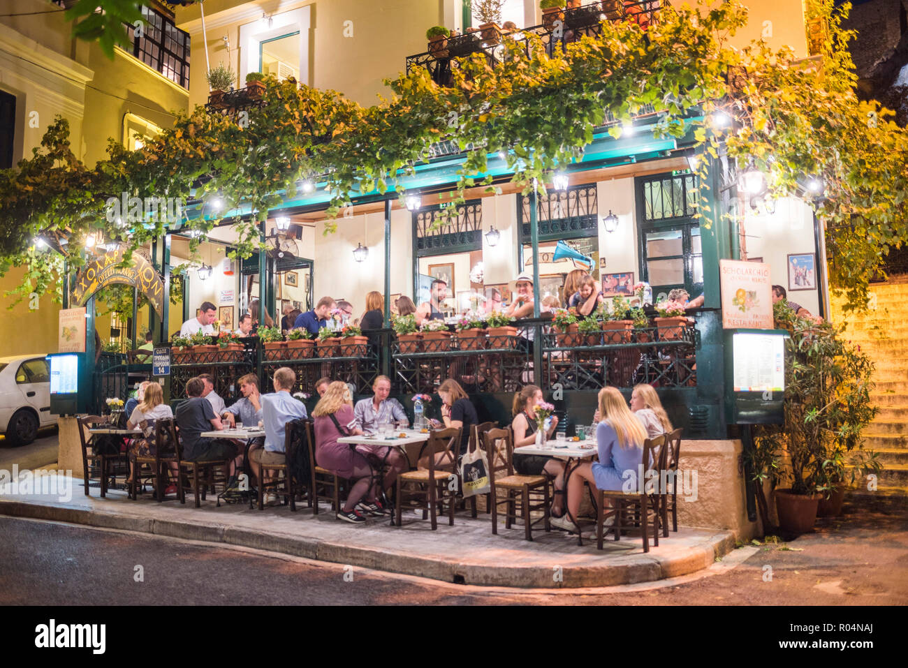 Restaurant at night, Plaka District, Athens, Attica Region, Greece, Europe - Stock Image