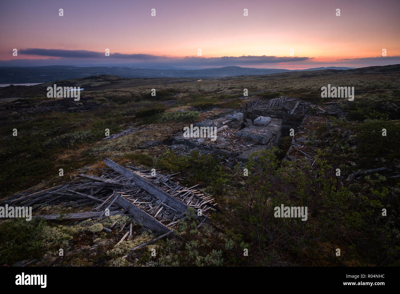 Ruined building of old copper mine in Nordgruvefeltet area near Glamos, Norway. - Stock Image