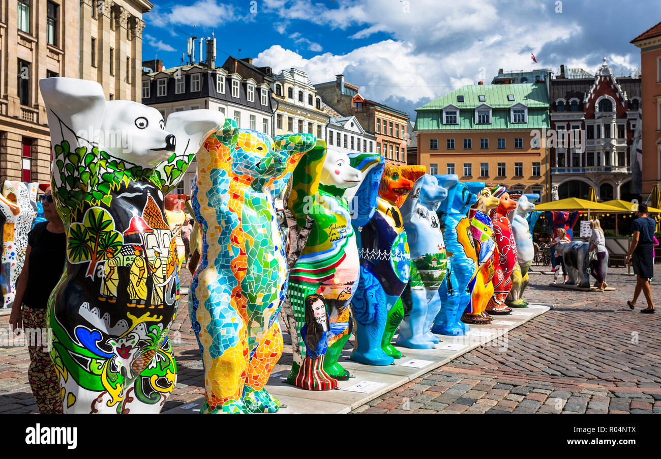 Dome Cathedral square, United Buddy Bears, The Art of Tolerance, Riga, Latvia, Baltic States, Europe - Stock Image