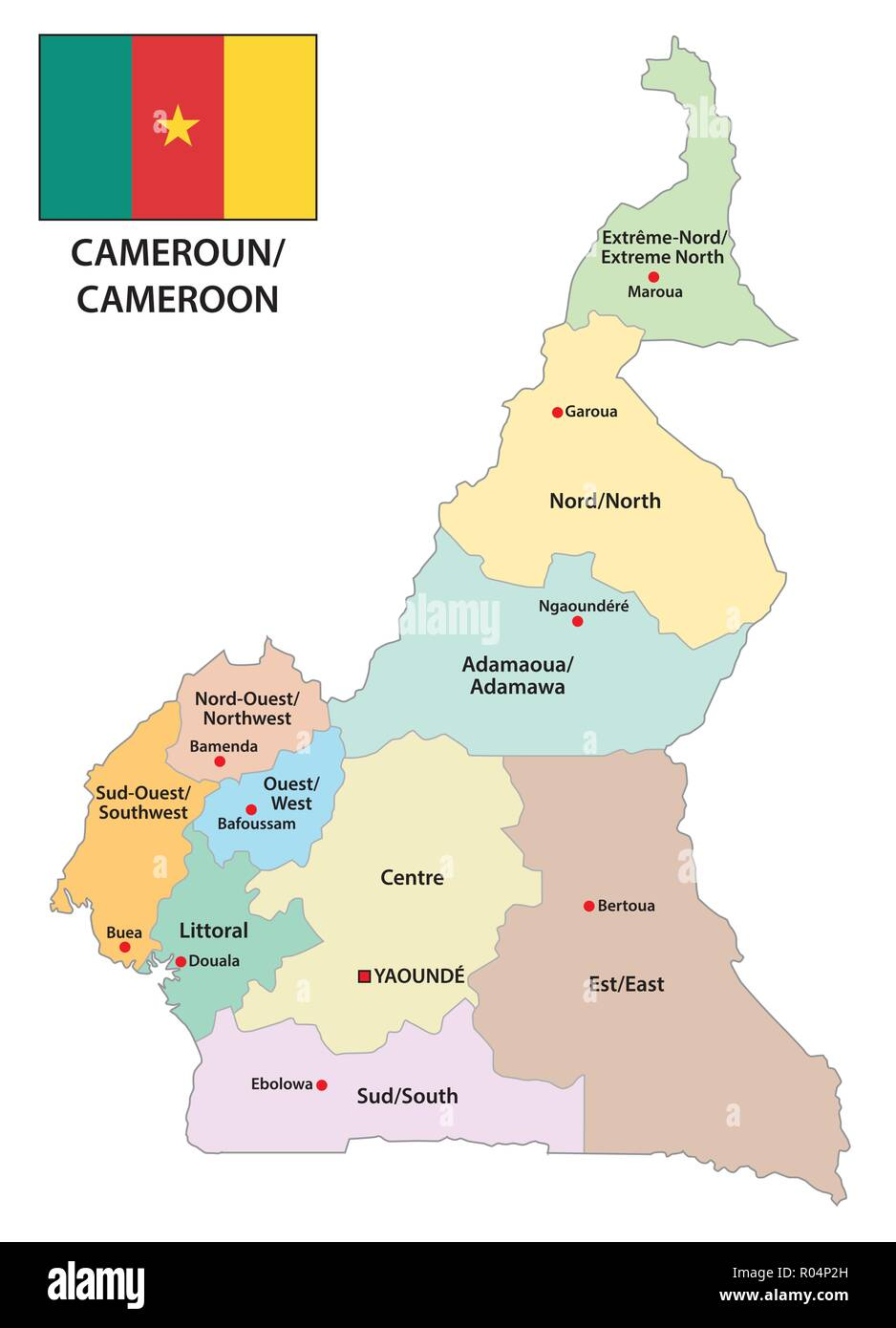 Republic Of Cameroon Administrative And Political Map With Flag