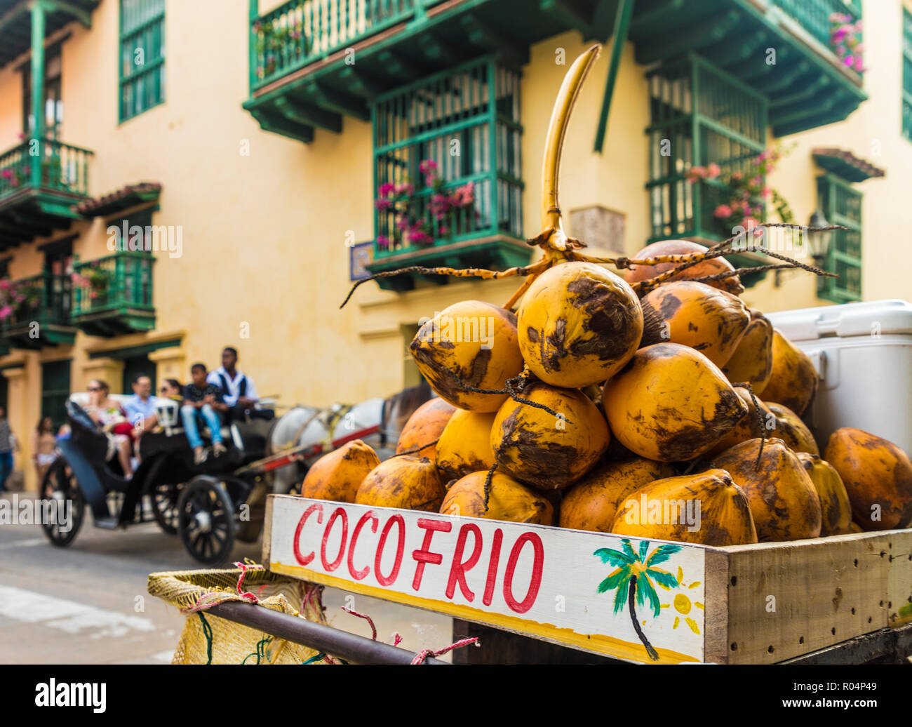 A Street Stall Selling Coconuts In The Old Town Cartagena