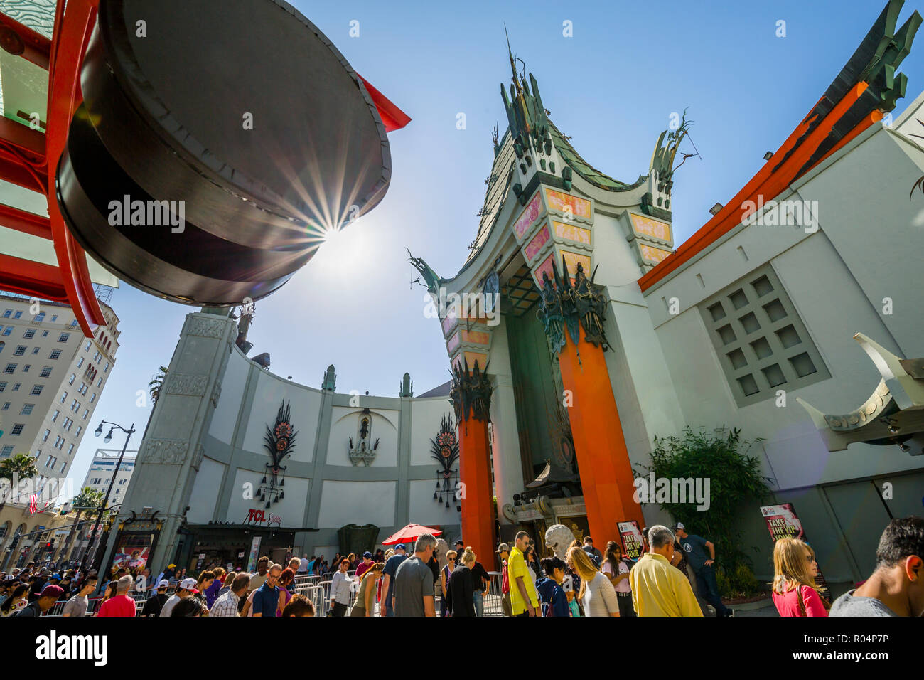 View of Grauman's Chinese Theatre on Hollywood Boulevard, Hollywood, Los Angeles, California, United States of America, North America - Stock Image