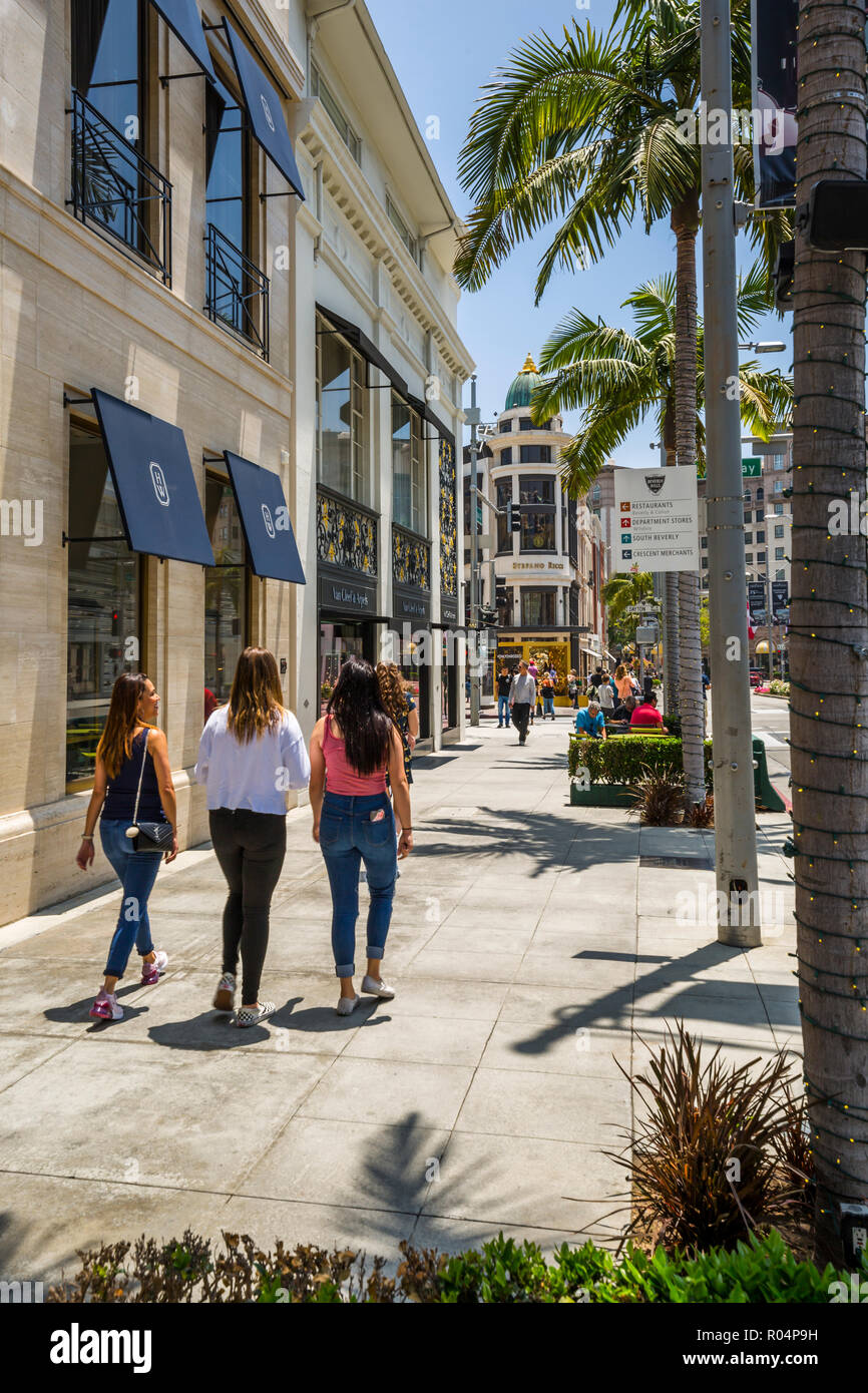 View of Rodeo Drive, Beverly Hills, Los Angeles, California, United States of America, North America Stock Photo