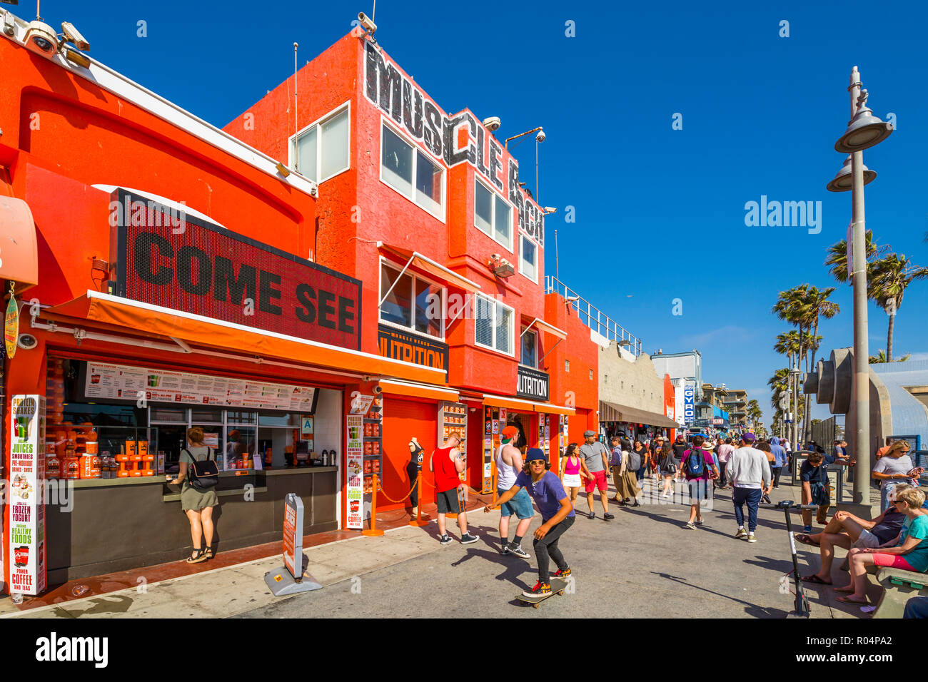 View of colourful shops on Ocean Front Walk in Venice Beach, Los Angeles, California, United States of America, North America Stock Photo