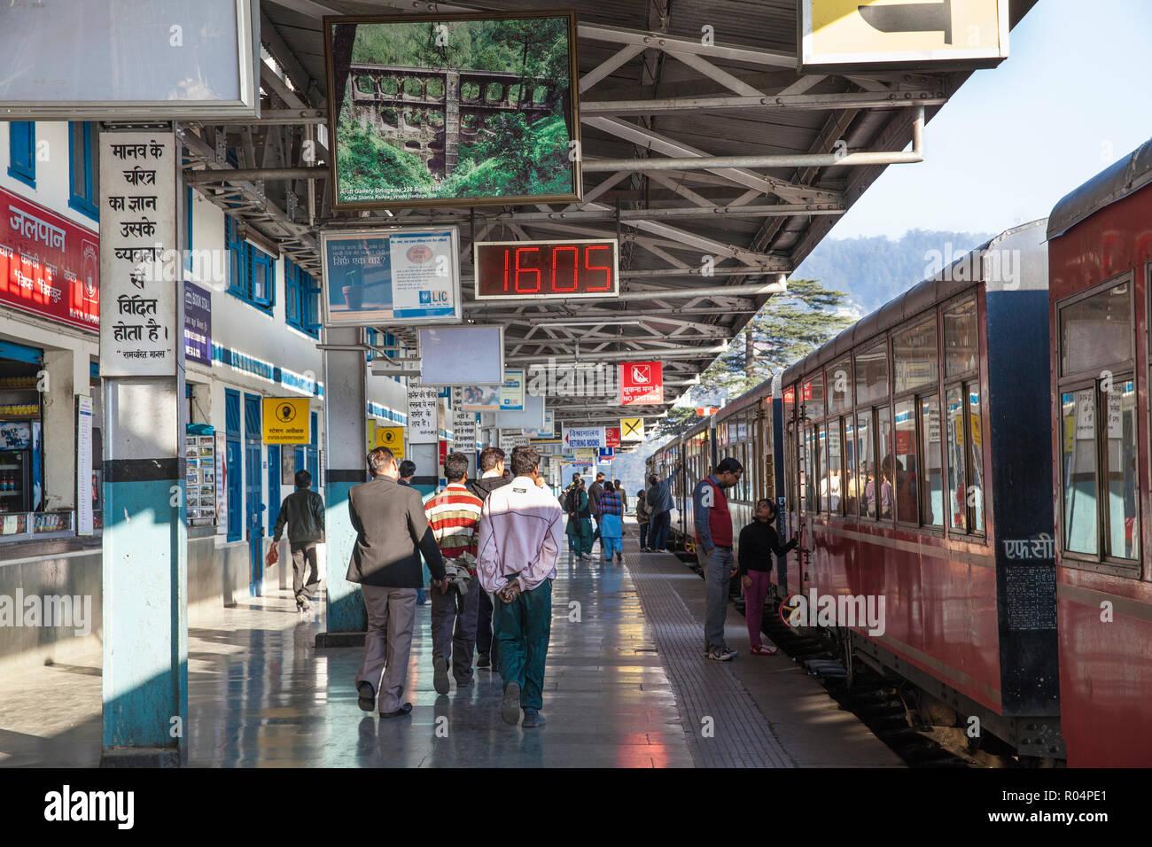 The Himalayan Queen toy train at Shimla railway station, at the end of the Kalka to Shimla Railway, UNESCO, Shimla (Simla), Himachal Pradesh, India - Stock Image