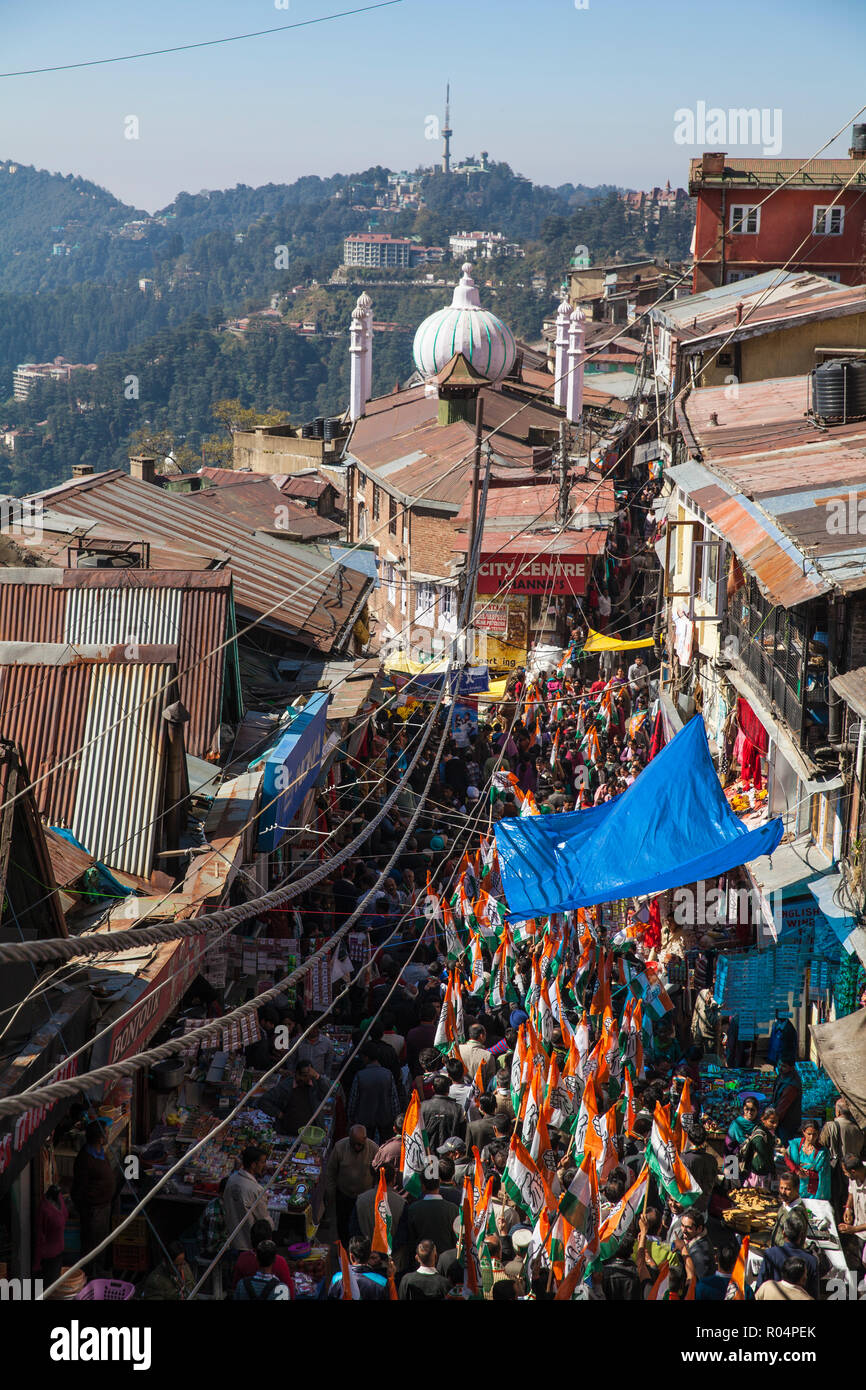 Lower Bazaar, The Mall, Shimla (Simla), Himachal Pradesh, India, Asia - Stock Image