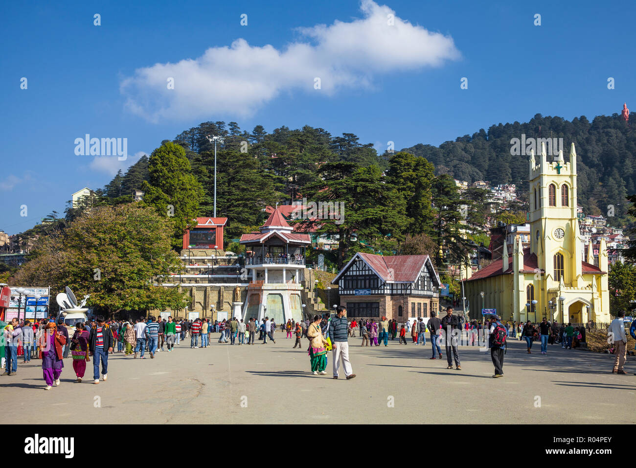 Christ Church, The Ridge, Shimla (Simla), Himachal Pradesh, India, Asia - Stock Image