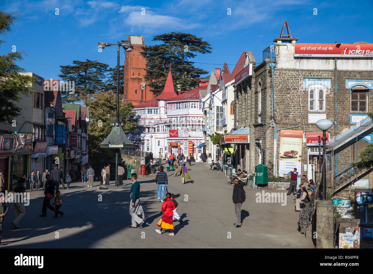 Half-timbered General Post Office, The Ridge, Shimla (Simla), Himachal Pradesh, India, Asia - Stock Image