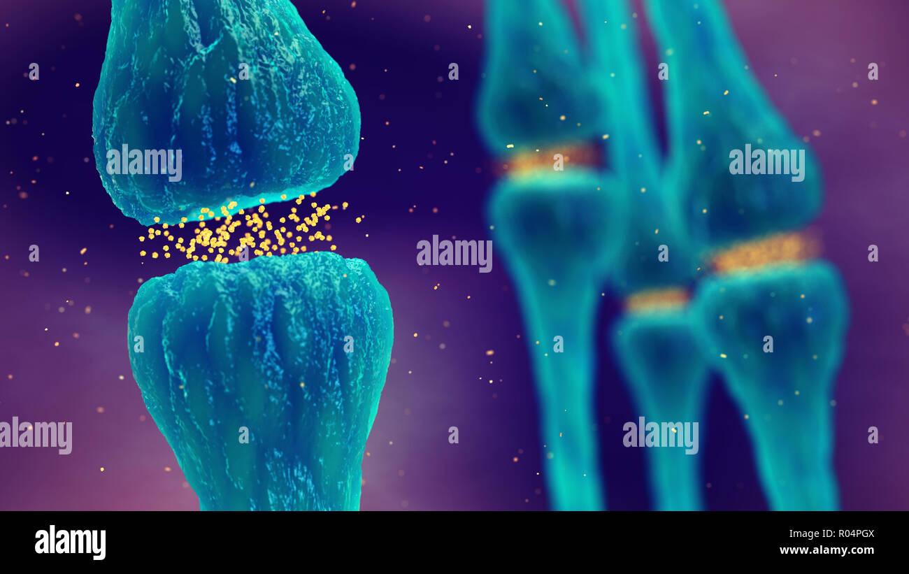 Brain synapses pathology and Neurological disease, Synaptic transmission - Stock Image
