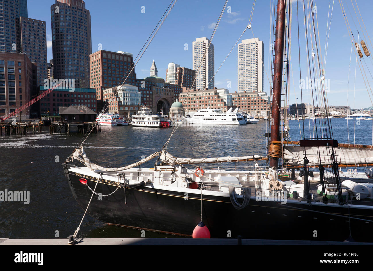 Adventure, a 1926, gaff rigged knockabout schooner, moored in Boston Harbour Stock Photo