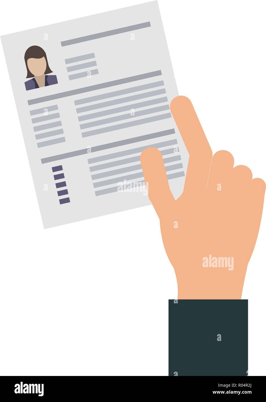 Hand With Woman Curriculum Vitae Vector Illustration Graphic Design