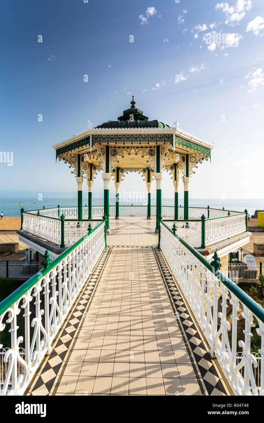 Bandstand at Brighton Beach Seafront, Brighton, East Sussex, England, United Kingdom, Europe - Stock Image