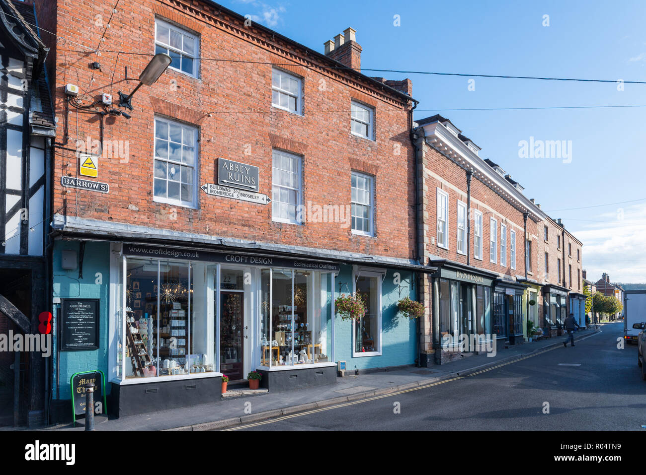 Croft Design Ecclesiastical Outfitters shop in Barrow Street, Much Wenlock, Shropshire, - Stock Image
