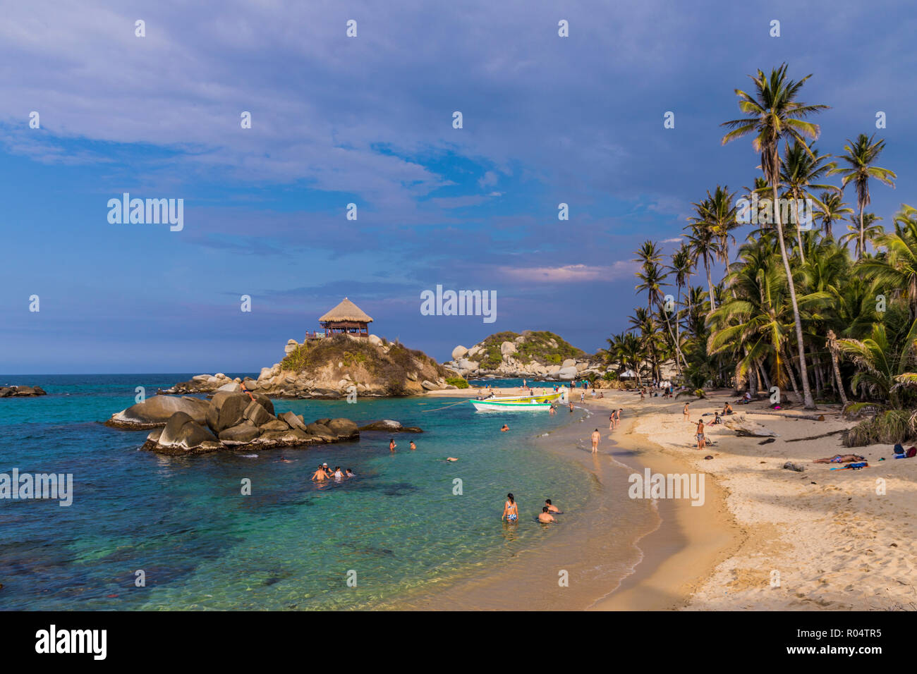 A view of the famous hammock hut overlooking the beach of Cabo San Juan and the Caribbean Sea in Tayrona National Park, Colombia, South America - Stock Image