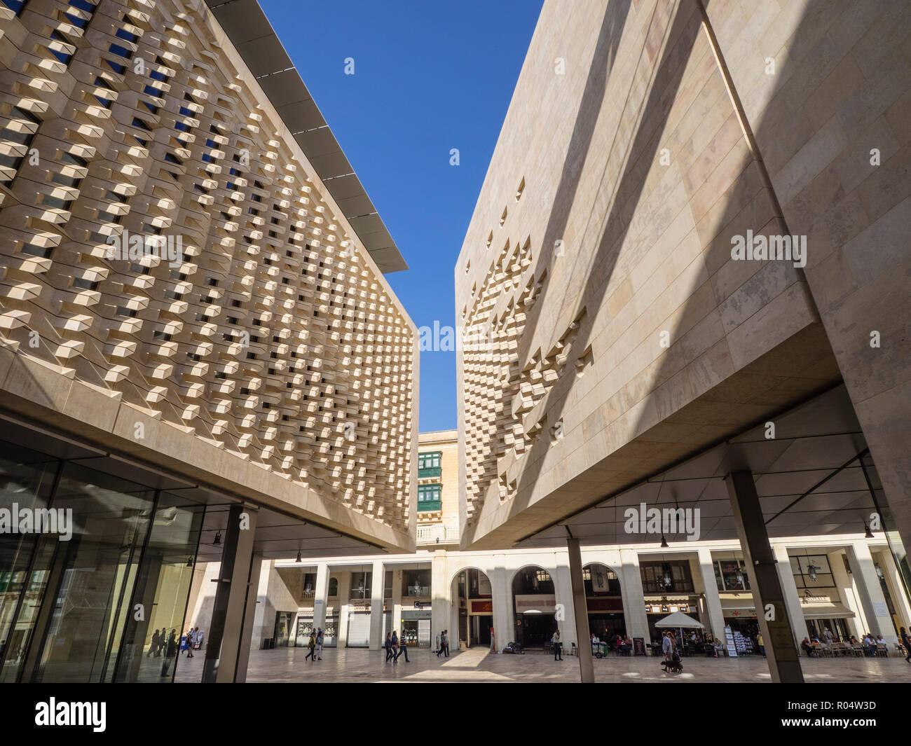 The new Parliament Building designed by Renzo Piano, Valletta, Malta, Europe - Stock Image