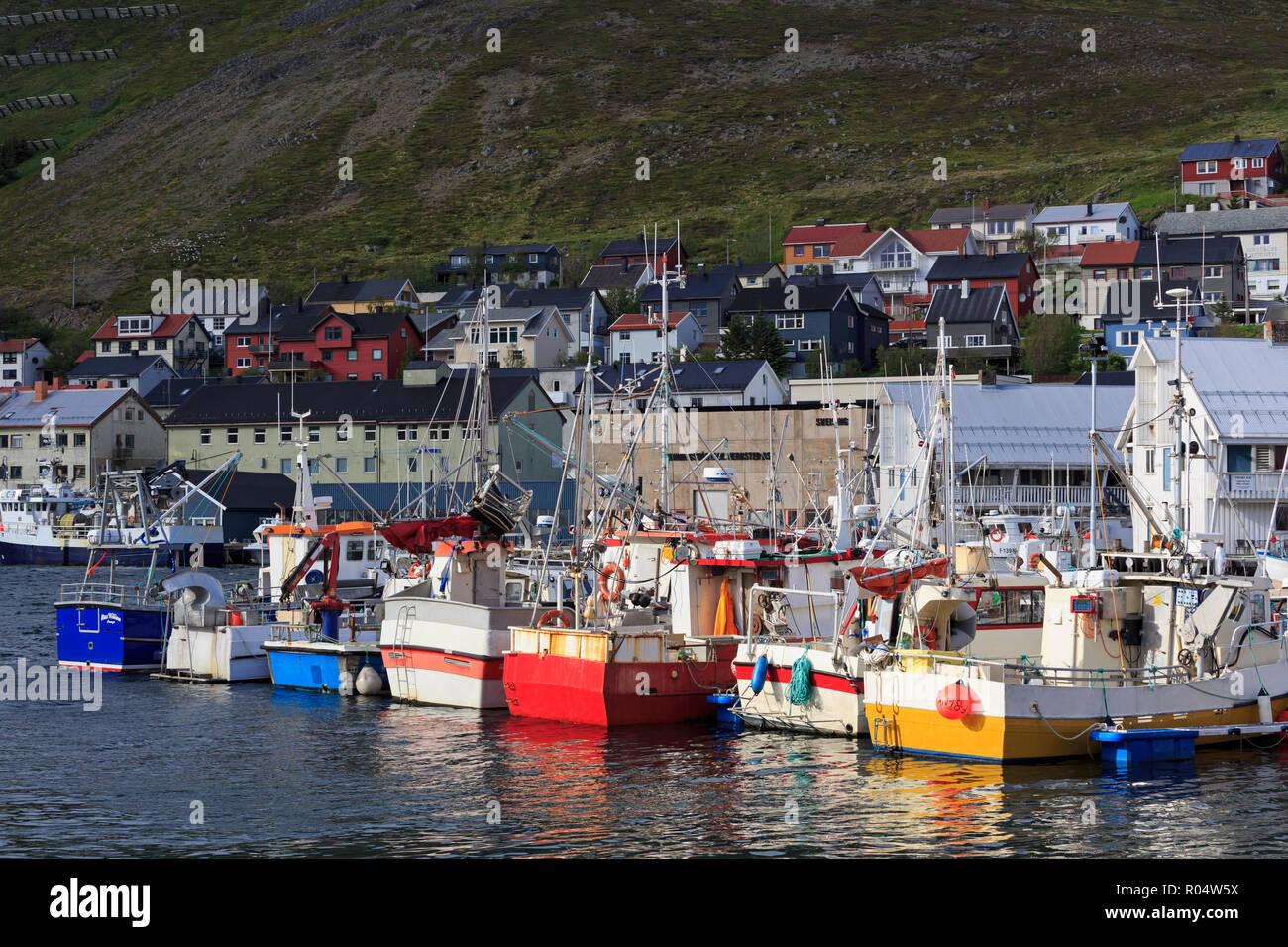 Fishing boats, Honningsvag Town, Mageroya Island, Finnmark County, Norway, Scandinavia, Europe - Stock Image