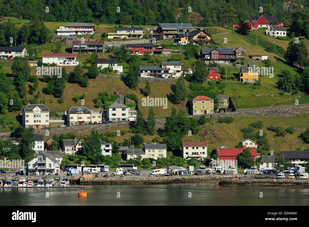 Geiranger Village, More og Romsdal County, Norway, Scandinavia, Europe - Stock Image