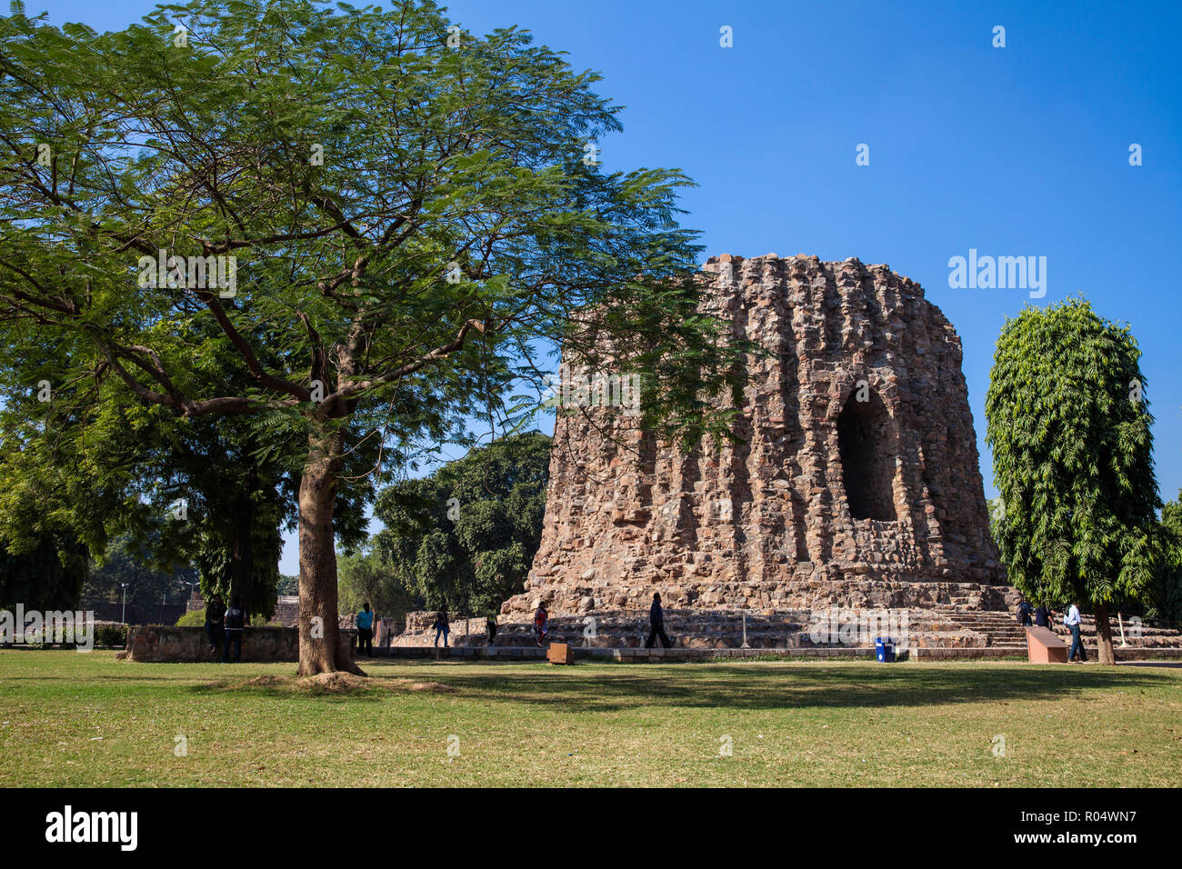 Qutub Minar, Atai Minor, an incomplete tower originally intended to be twice as high as Qutub Minar, UNESCO World Heritage Site, Delhi, India, Asia - Stock Image