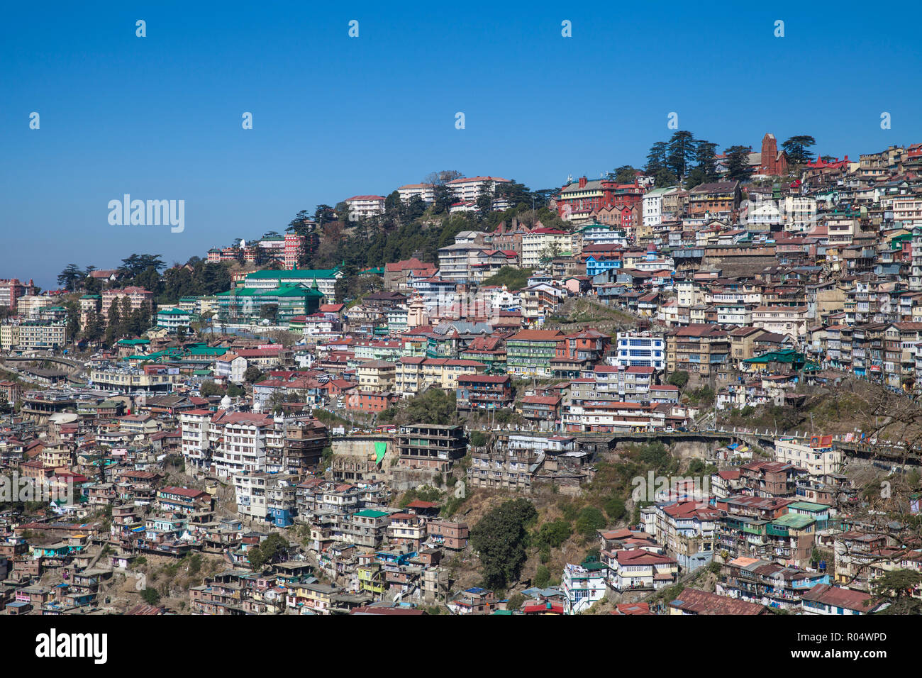 View of city center, Shimla (Simla), Himachal Pradesh, India, Asia Stock Photo