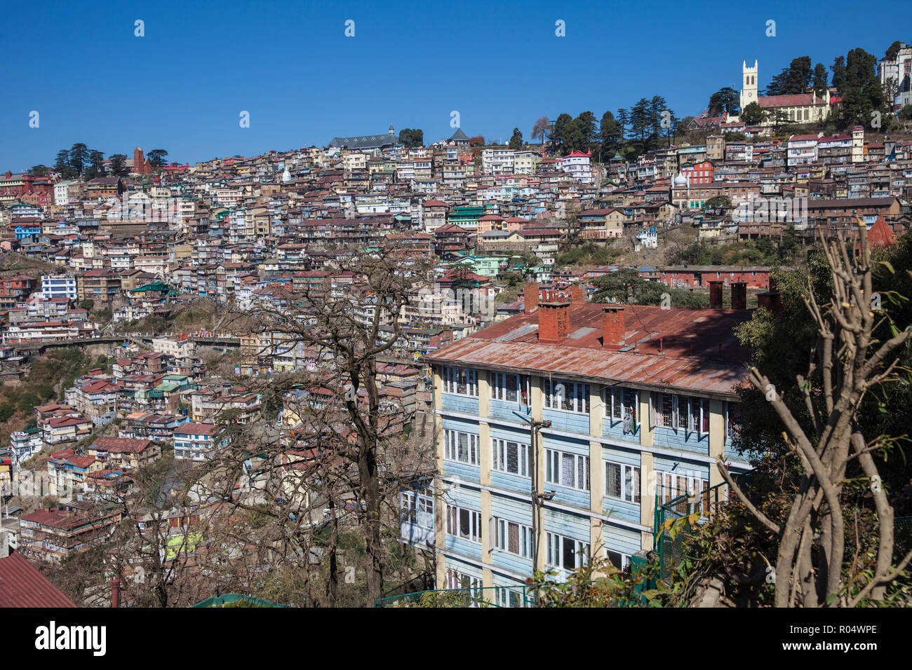 Terrace garden of Clarkes Hotel and city view, Shimla (Simla), Himachal Pradesh, India, Asia - Stock Image