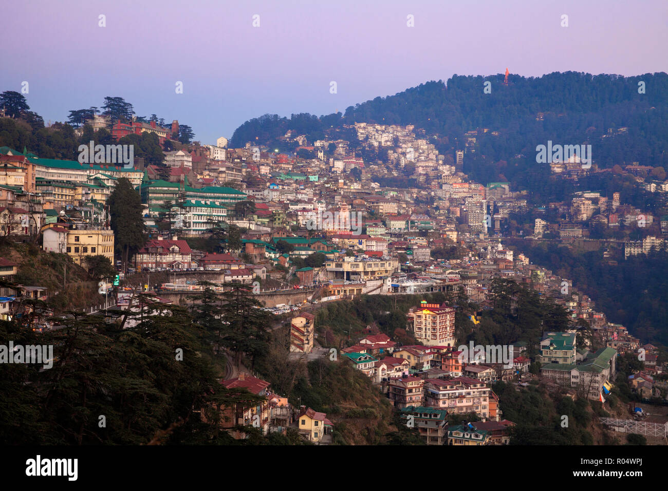 View of city, Shimla (Simla), Himachal Pradesh, India, Asia - Stock Image
