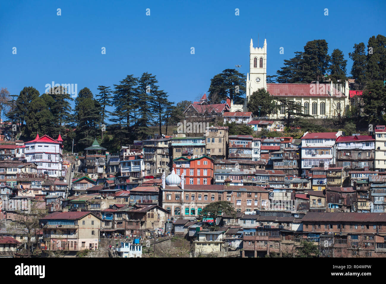 View over city looking towards Christ Church, Shimla (Simla), Himachal Pradesh, India, Asia - Stock Image