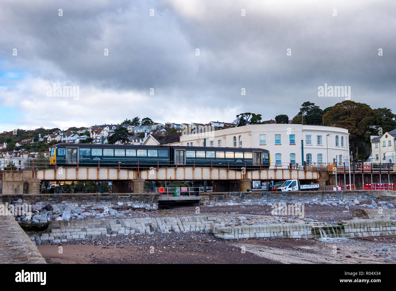 DAWLISH, DEVON, UK - 26OCT2018: GWR Class 143 Pacer Train approachin Dawlish Station from the South. - Stock Image