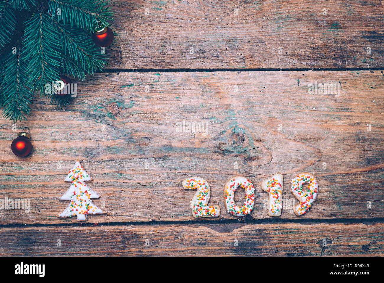 2019 Christmas Cookies 2019 background Happy New Year 2019. Christmas cookies in the form