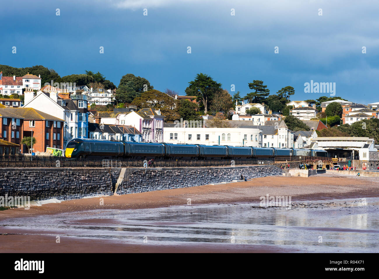 DAWLISH, DEVON, UK - 26OCT2018: GWR Class 802 High Speed Train  802009 approaching Dawlish Station from the South. - Stock Image