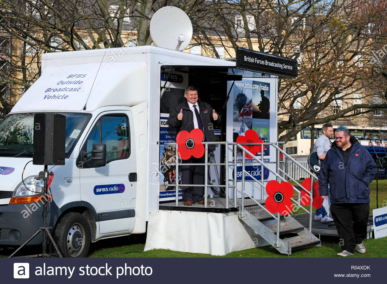 Edinburgh, United Kingdom. 1st November, 2018.  Edinburgh Poppy Day hosted by PoppyScotland in St Andrew Square. Gordon Michie, Head of Fundraising at PoppyScotland giving a thumbs up sign. Credit: Craig Brown/Alamy Live News. - Stock Image
