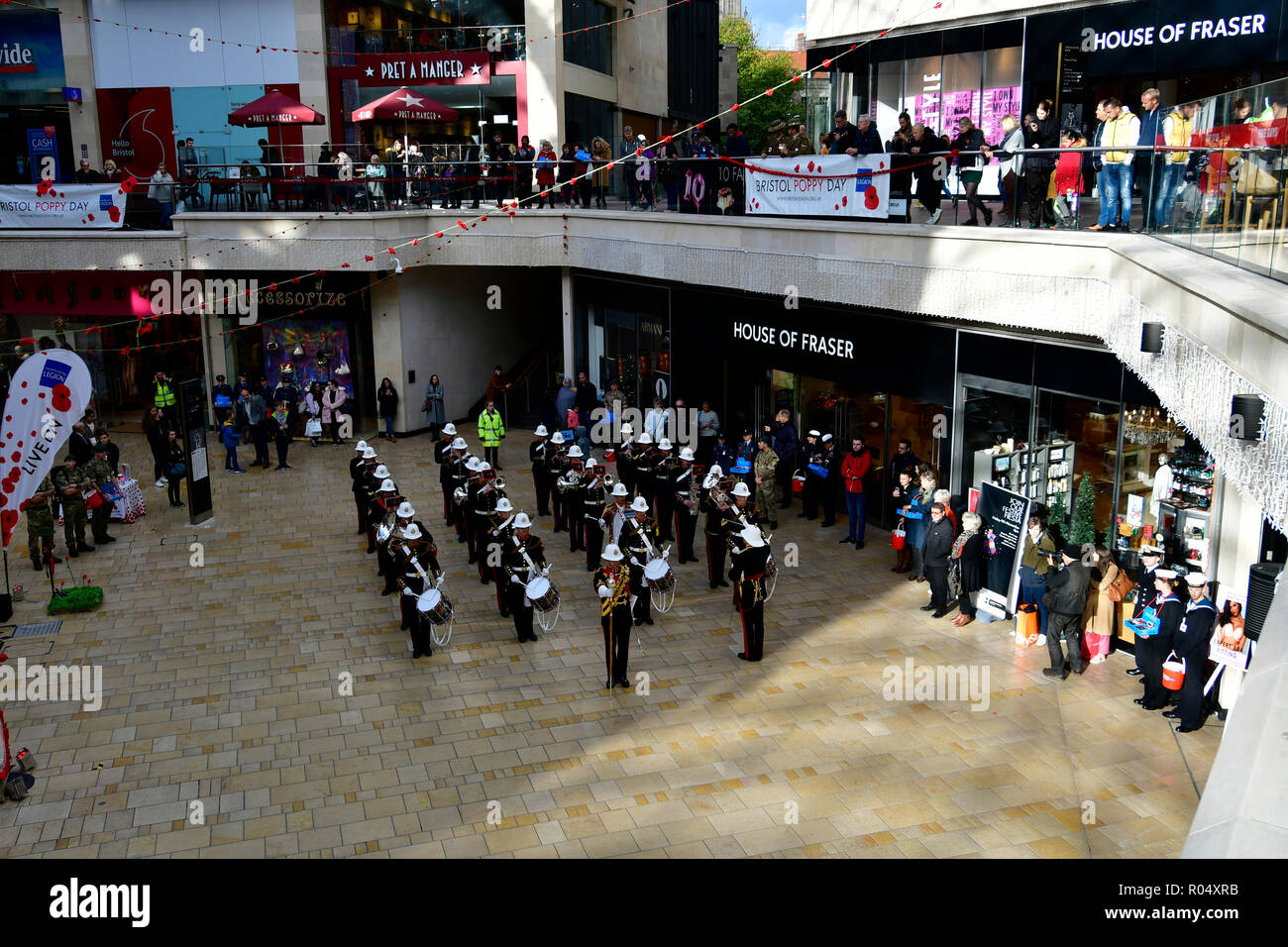 Bristol, UK. 1st Nov 2018. Lest we forget. Band of the Royal Marines seen at Cabot Circus Shopping Center. Robert Timoney/Alamy/live/News - Stock Image