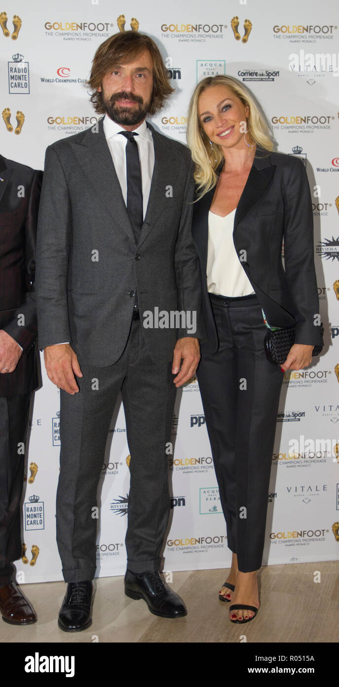 Monaco, Monte Carlo - October 30, 2018: Goldenfoot, The Champions Promenade Award Gala with Andrea Pirlo and wife Deborah. Golden Foot, Awards, Soccer, Fussball, Fussballer, Sport, Sportler, Frau, Ehefrau, wife, | usage worldwide - Stock Image