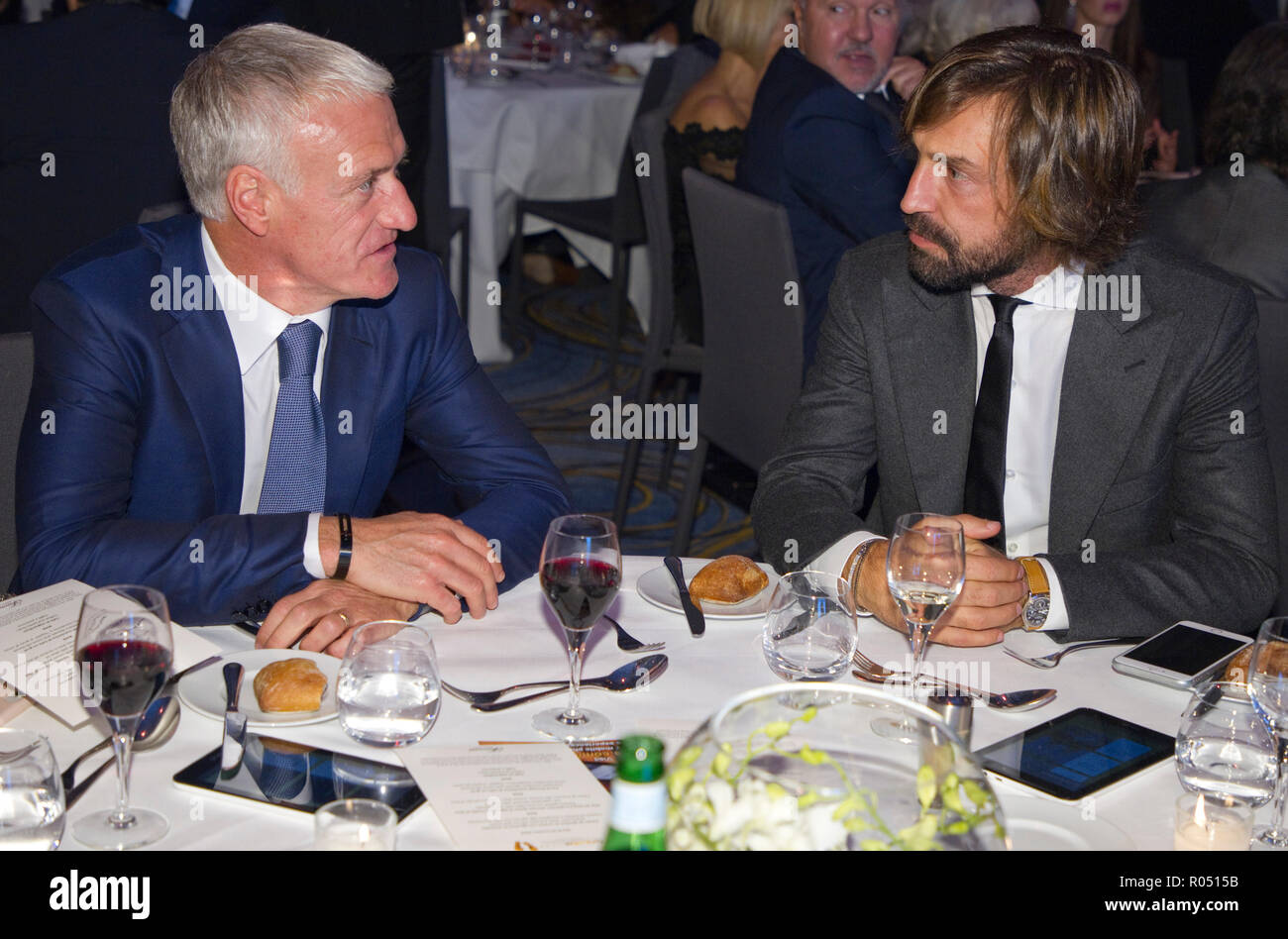 Monaco, Monte Carlo - October 30, 2018: Goldenfoot, The Champions Promenade Award Gala with Didier Deschamps and Andrea Pirlo. Golden Foot, Awards, Soccer, Fussball, Fussballer, Sport, Sportler, | usage worldwide - Stock Image