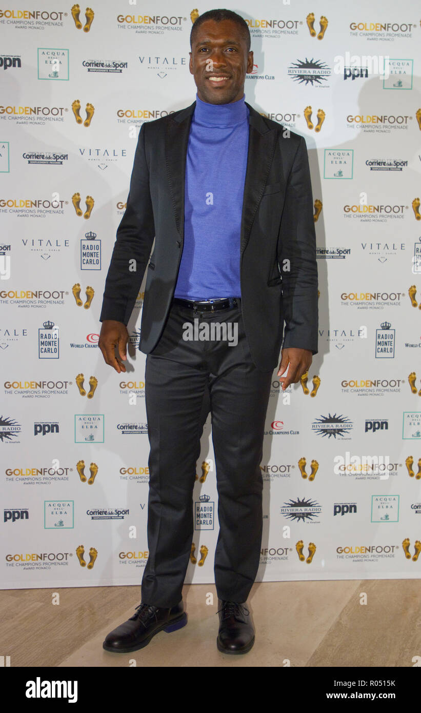 Monaco, Monte Carlo - October 30, 2018: Goldenfoot, The Champions Promenade Award Gala with Clarence Seedorf. Golden Foot, Awards, Soccer, Fussball, Fussballer, Sport, Sportler, | usage worldwide - Stock Image