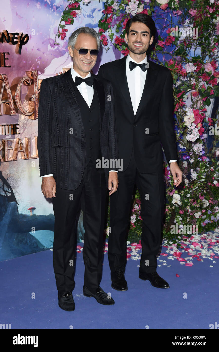 LONDON, UK. November 01, 2018: Andrea Bocelli & Matteo Bocelli at the European premiere of 'The Nutcracker and the Four Realms' at the Vue Westfield, White City, London. Picture: Steve Vas/Featureflash Credit: Paul Smith/Alamy Live News - Stock Image