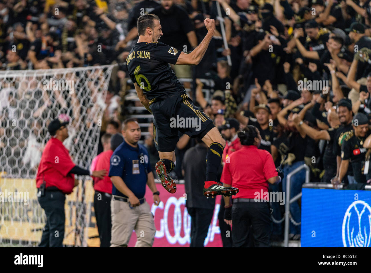 Los Angeles, USA. 1st November 2018. Danilo Silva (6) leaps towards the LAFC supporters after scoring against Real Salt Lake in their playoff bout. LAFC lost the game 3-2, however. Credit: Ben Nichols/Alamy Live News - Stock Image