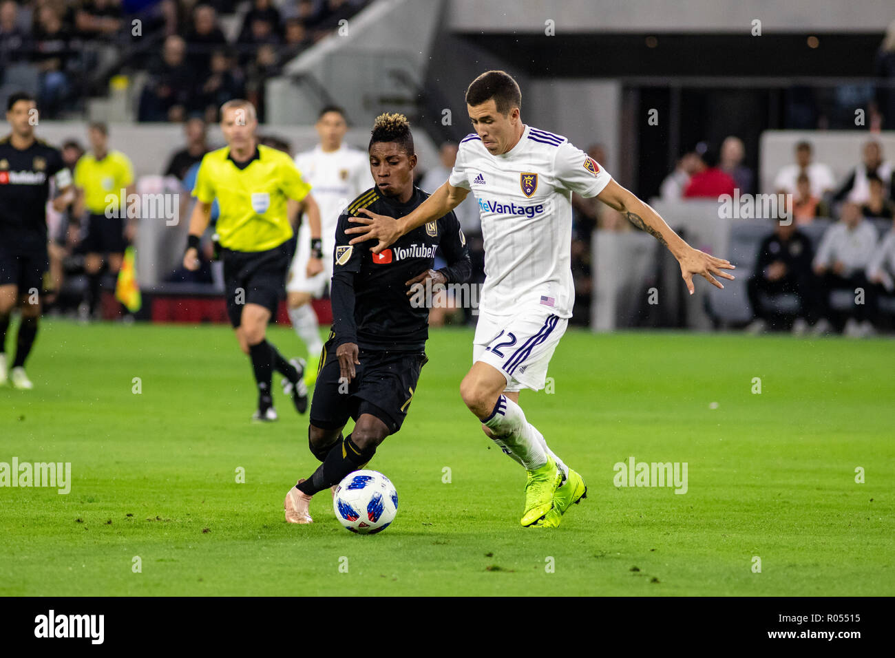 Los Angeles, USA. 1st November 2018. Aaron Herrera (22) holds off Latif Blessing (7) in RSL's win over LAFC in the MLS playoffs. Credit: Ben Nichols/Alamy Live News - Stock Image