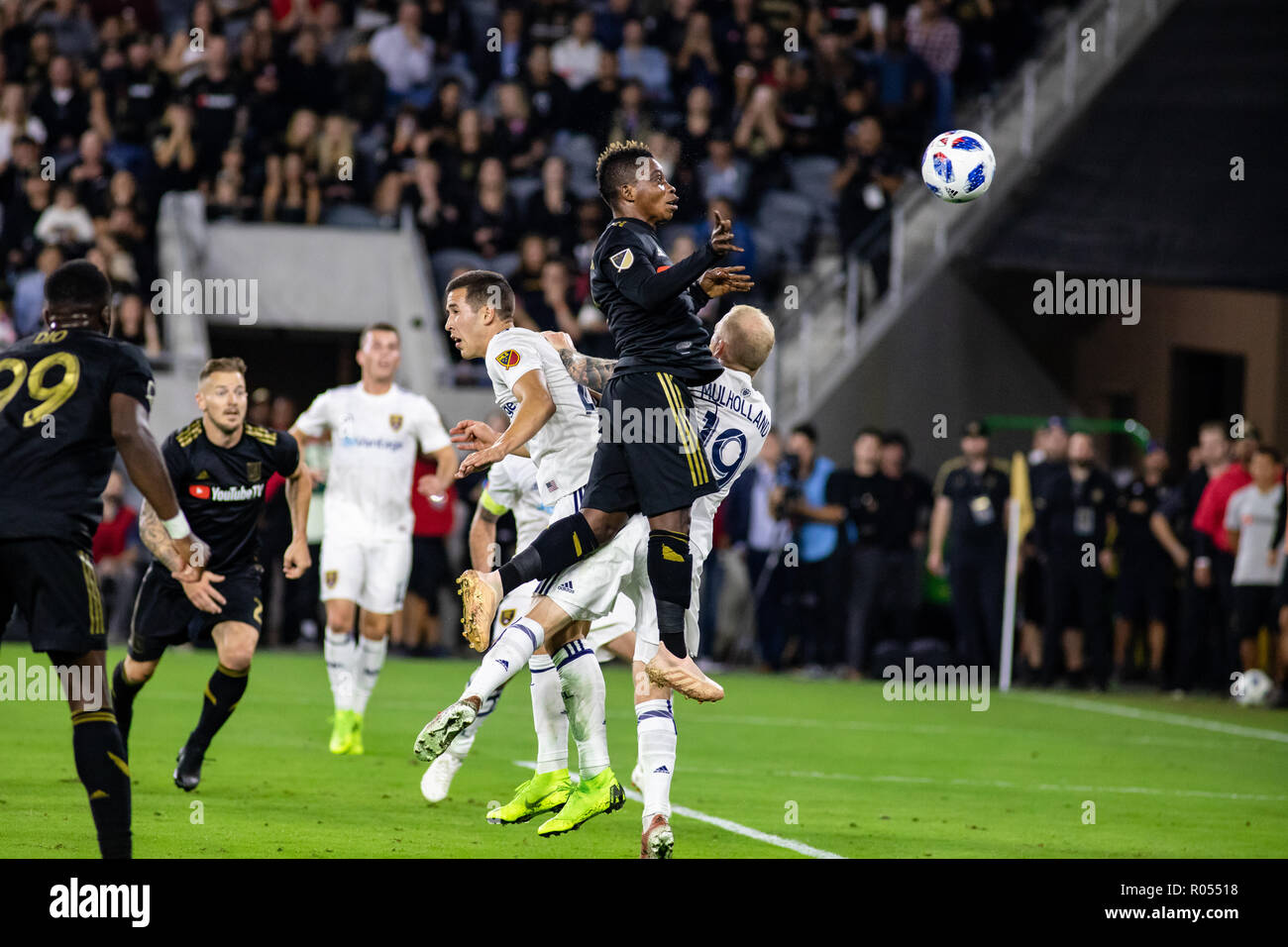 Los Angeles, USA. 1st November 2018. Latif Blessing (7) of LAFC heads the ball just wide in the first half against RSL in the MLS playoffs. Credit: Ben Nichols/Alamy Live News - Stock Image