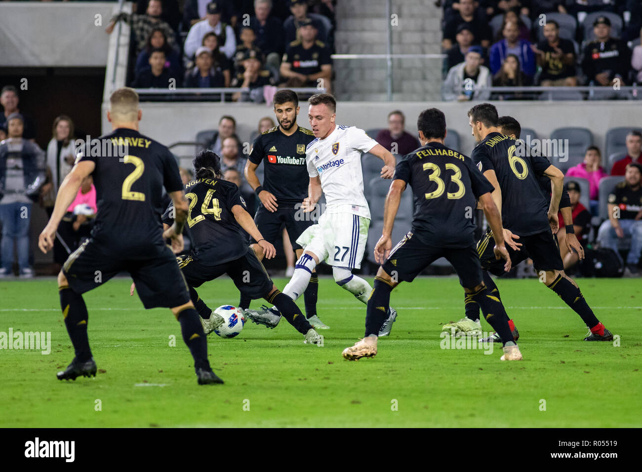 Los Angeles, USA. 1st November 2018. Corey Baird (27) takes on six LAFC players in the run up to RSL's game winning goal in the 69th minute. Credit: Ben Nichols/Alamy Live News - Stock Image