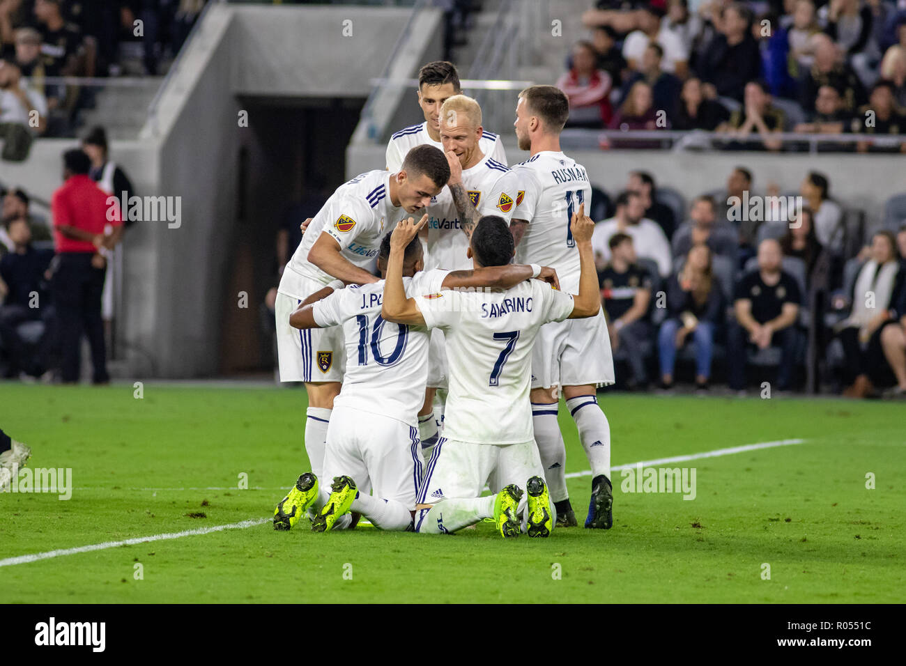 Los Angeles, USA. 1st November 2018. Real Salt Lake celebrates after LAFC's own goal in the 69th minute to send them on to the next round of the MLS playoffs. Credit: Ben Nichols/Alamy Live News - Stock Image